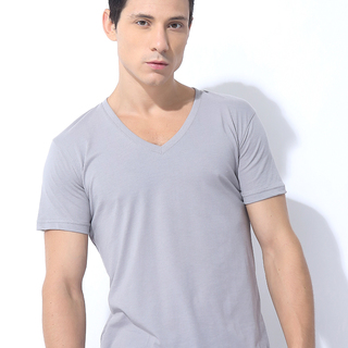 FOLDED AND HUNG SOLID CVC SHIRT SILVER GRAY (M6PETT26A)