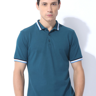 TRI TRIPPED COLLAR AND CUFF DETAILED POLOTEE MIDNIGHT BLUE (M7SCTP09L)