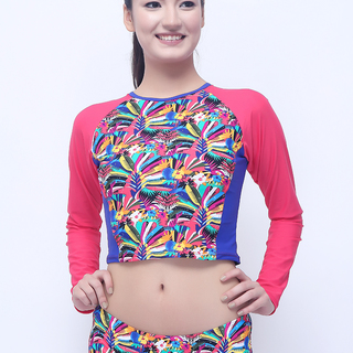 Sassa Cropped Long Sleeved Rashguard with UPF 50 in Tropical Print (Coral-2801)