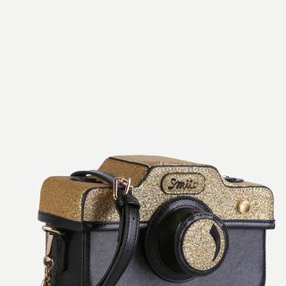 Black and Gold Camera Statement Sling Bag
