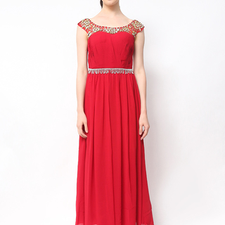 Host Gown Beaded On Neckline And Waist