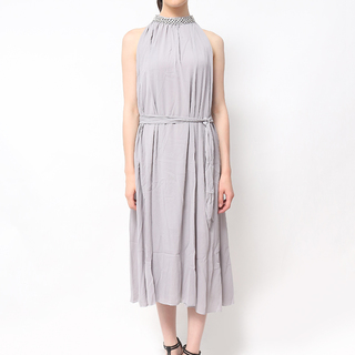 Host Long Dress With Beaded Neckline (Gray)