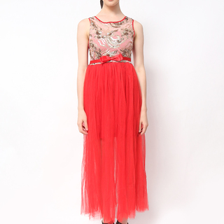 Host Gold Top With Red Chiffon Skirt