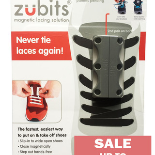 Zubits Magnetic Shoe Closure - Gray - Size 2 (oZB2GRY)