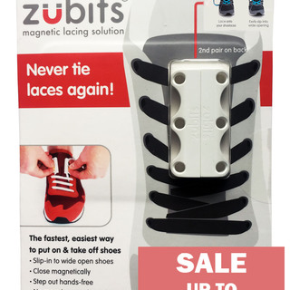 Zubits Magnetic Shoe Closure - White - Size 3 (oZB3WHT)