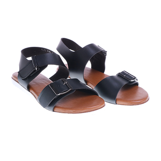 Janylin Black One Band Flat Sandals With Ankle Strap (525-635-Black)