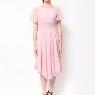 Host Pink Midi Dres Swith Garterized Waist And Sleeves (Freesize)
