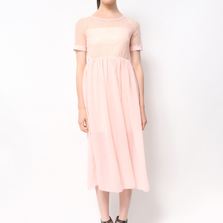 Host Pink Long Dress With Sleeves (Freesize)