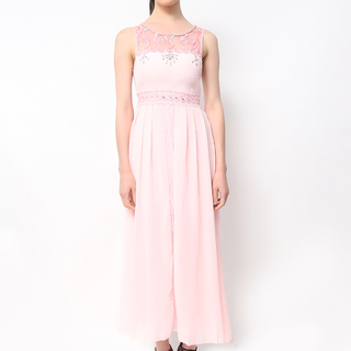 Host Pink Sleeveless Long Dress With Beads (Freesize)