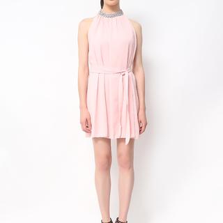 Host Pink Short Loose Dress With Swarovski Neckline (Freesize)