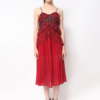 Host Red Lace Dress With Pleated Skirt (Luxe Quality) (Freesize)
