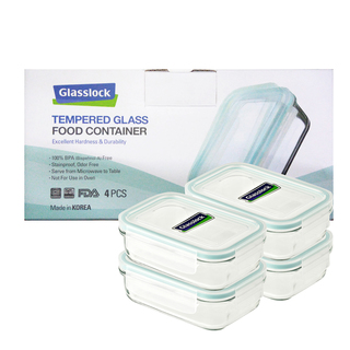 Glasslock Rectangle Type Food Keeper 400ml, 4-piece Set (GL1650)
