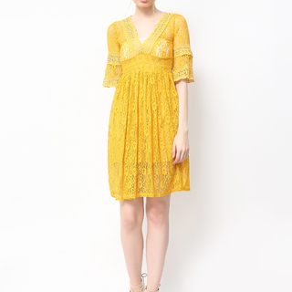 HOST 3/4 SLEEVES LACE DRESS (FREE SIZE)