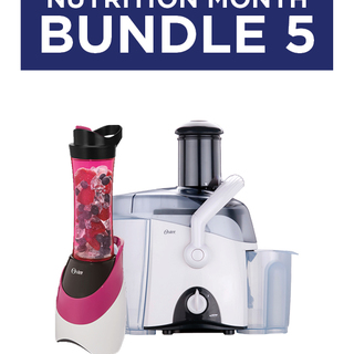 Bundle 5: Oster White Juice Extractor (3167) & MyBlend Pink/Orange Blender with Free Bottle (BLSTPB)