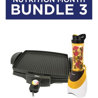 Bundle 3: Oster Black Indoor Grill (4767) & MyBlend Pink/Orange Blender with Free Bottle (BLSTPB)
