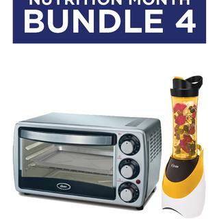 Bundle 4: Oster Silver Oven Toaster (TSSTTV7052) & MyBlend Pink/Orange Blender with Free Bottle (BLSTPB)