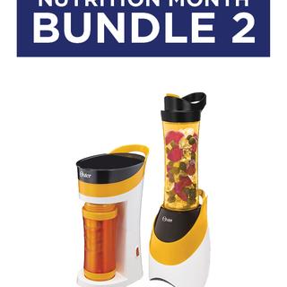 Bundle 2: Oster MyBrew Pink/Orange Coffee Maker (BVSTMYB) & MyBlend Pink/Orange Blender with Free Bottle (BLSTPB)