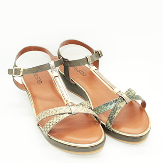 Astrid T strap sandals on wedge heel