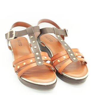 Aimee T strap sandals on wedge heel