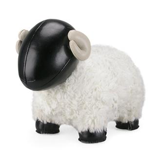 Zuny Series Sheep Bomy Bookend (Black + White Fur)