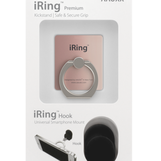 iRing Hook Set Reusable 3 in 1 Safety Grip - Kickstand - Car Cradle for Smart Devices (Rose Gold)