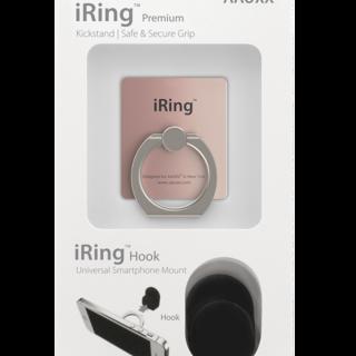 iRing Hook Set Reusable 3 in 1 Safety Grip - Kickstand - Car Cradle for Smart Devices (iRPMRoseGold)