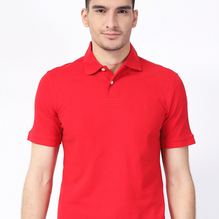 IZOD Red  Solid Polo Shirt (AKE161282036)