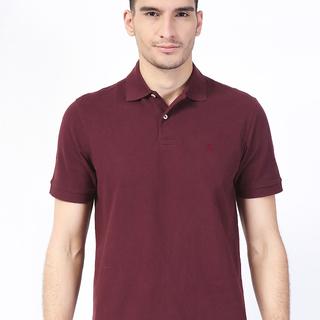 IZOD Maroon  Solid Polo Shirt (AKE161282294)