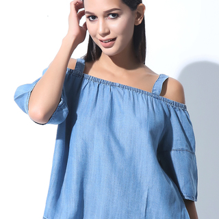 FOLDED AND HUNG  SS OFF SHOULDER CHAMBRAY BLOUSE (L7BPTW11L)