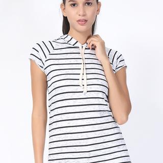 UROPA White/Black Short Sleeves Hoodie Top (AUV002043)