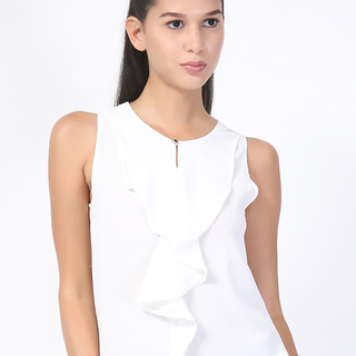 UROPA White Chiffon Sleeveless Blouse (AUV002069)