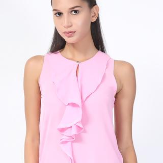 UROPA Pink Chiffon Sleeveless Blouse (AUV002068)