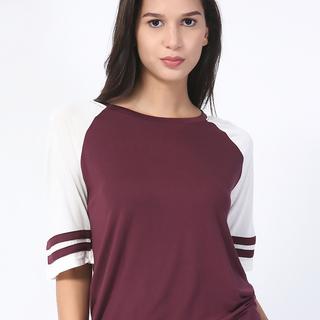 Forever 21 White/Maroon Raglan Shirt (AJY150961632)