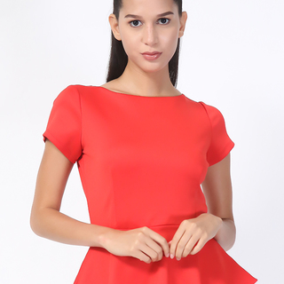 BISOU BISOU Red Peplum Blouse (AYI150347049)