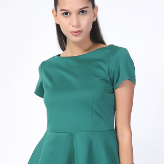 BISOU BISOU Emerald Green Peplum Blouse (AYI150347050)