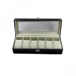 6 Slot Watch PU Leather Case - Black
