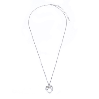 Silverworks N3801 Open Heart with Ribbon Design Necklace