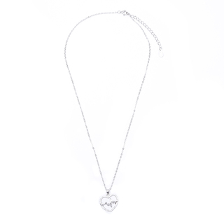 Silverworks N3802 Open Heart with Heartbeat Design Necklace