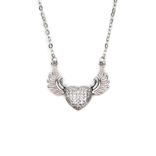 NECKLACE HEART STONE W/WING (N3773)