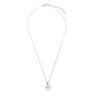 Silverworks N3923 Heart with Diagonal Square Zirconia Design Necklace