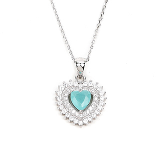 NECKLACE MULTICOLOR HEART W/ 2LAYER STONE (N3820)