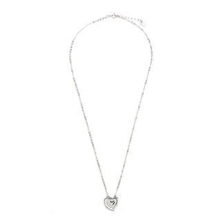 Silverworks N3771 Two Open Heart with Stone Design Necklace