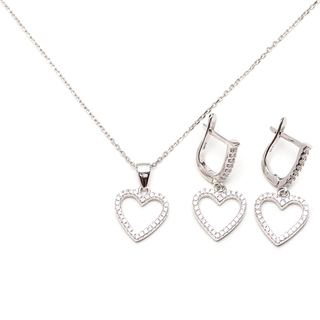 Silverworks S575 Open Heart Design Necklace and Earrings