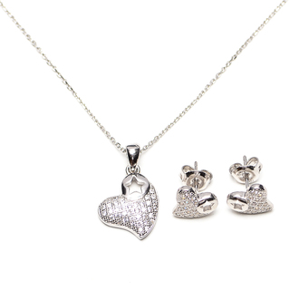 Silverworks S564 Heart with Star Necklace and Earrings