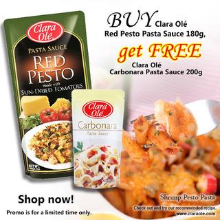 Buy Clara Olé  Red Pesto Pasta Sauce 180g get FREE Clara Olé Carbonara Pasta Sauce 200g