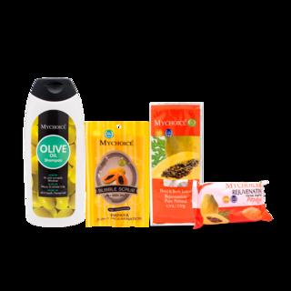 Mychoice - Olive Oil Shampoo (SHM180g) x Bubble Scrub (BS30g) x Facial Soap (FS45g) x Facial Cream (FC12g)