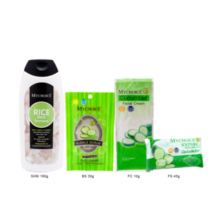 Mychoice - Rice Milk Shampoo (SHM180g) x Bubble Scrub (BS30g) x Facial Soap (FS45g) x Facial Cream (FC12g)