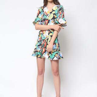 Daria Black Havana Wrap Dress