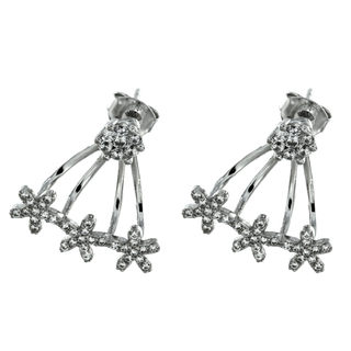 Silverowkrs E6959 Flower Ear Jacket Earrings