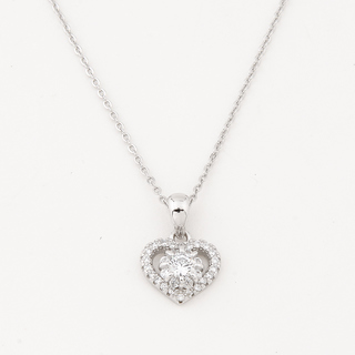 SILVERWORKS N3662 OPEN FLOWER HEART NECKLACE
